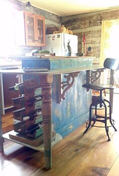 dated cabinet restyled into a lovely french country inspired island, diy, kitchen design, kitchen island, repurposing upcycling, My up cycled cabinet is now this lovely island