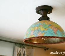 thrifty diy shade replacement using a globe, diy, how to, lighting, repurposing upcycling, Globe light fixture cover