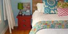 create a master bedroom you love on a budget, bedroom ideas, home decor, DIY Upholstered headboard upcycled free roadside nightstands and ladder quilt holder
