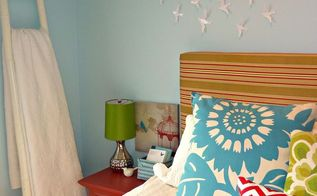 create a master bedroom you love on a budget, bedroom ideas, home decor, DIY Upholstered headboard bamboo ladder to store extra quilts tiny birds over headboard