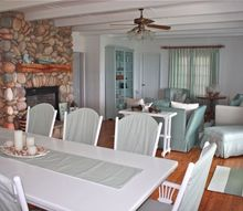 cottage before and after, bedroom ideas, doors, home decor, living room ideas, I used a large white and teal stripe for the drapes and a fine ticking stripe for slipcovers on the newly painted dining room suite