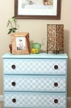 diy stenciled nightstand, painted furniture