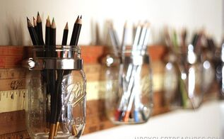 diy mason jar storage tutorial using vintage yardsticks, crafts, mason jars, repurposing upcycling