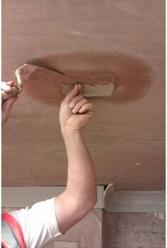 how to repair a small hole in your ceiling, home maintenance repairs, how to, walls ceilings, Continuing to hold onto the nail and using a Thistle Bonding plaster the patch is continued to be built out level with the existing surface