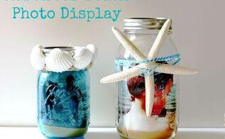 mason jar beach photo display, crafts, home decor, mason jars, Blue Mason Jar and Standard Mason jar with sisal shells sand and a starfish