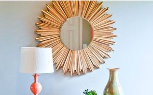 diy stained wood shim starburst mirror, crafts