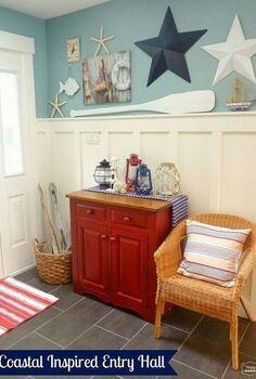 coastal nautical theme entry hall foyer decor, foyer, home decor, A Coastal Inspired Foyer d cor look with red white and blue lanterns wicker nautical themed art and accessories
