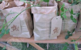 passalong plant party favors, crafts, flowers, gardening, Passalong plant party favors in brown paper bags with handmade tags gardening party diy