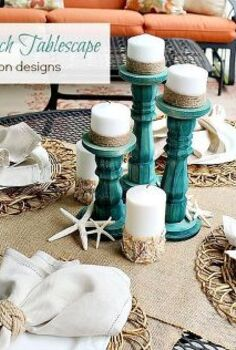 creating a summer beach tablescpae, crafts, seasonal holiday decor, Love the pop of washed tuquoise candlesticks against the burlap accents