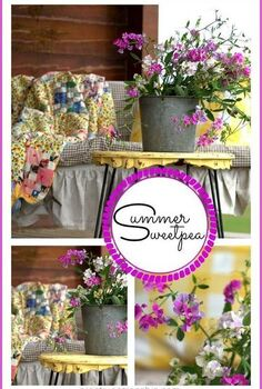 rustic log home porch decor using sweet pea wildflowers, decks, home decor, porches, Porch swing with an old quilt gingham and buffalo fabric Hair pin leg table painted in cornbread yellow Galvanized sap bucket filled with wild SweetPeas