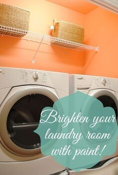 add a pop of color to brighten your laundry space, home decor, laundry rooms, painting