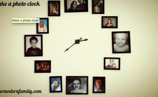 make a large clock out of your favorite family photos, home decor, wall decor, Keep your furniture clutter free by displaying your family photos on the wall for a clock Easy directions on yourmodernfamily com