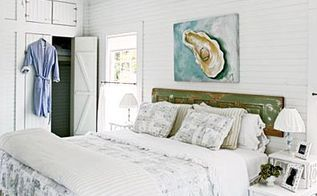 how to use old doors for coastal decorating, bedroom ideas, home decor, repurposing upcycling, Old door used as a headboard Weathered beach cottage charm