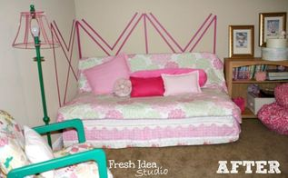 make your own diy headboard on the cheap, bedroom ideas, crafts, added some throw pillows a floor lamp and a roadside find chair Boom DIY decorating on the cheap