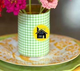 Scrapbook Paper Craft Table Setting, Crafts, Home Decor, Gingham Paper  Around A Can