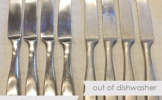 cleaning hard water stains with vinegar, cleaning tips, silverware with and without cleaning with vinegar