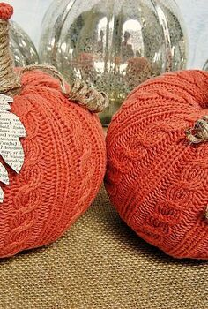 easy sweater pumpkins, crafts, decoupage, repurposing upcycling, So far I ve made two but I see more in my future