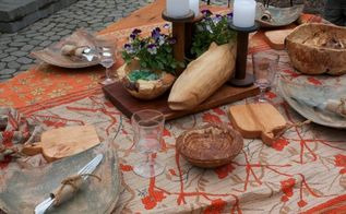 fall al fresco dining, outdoor living, seasonal holiday decor, Hand carved fish serving board burl bowl and individual bread boards by my husband Kent available through our website