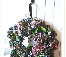 make a fresh hydrangea wreath in only 5 minutes, crafts, flowers, gardening, hydrangea, wreaths, Isn t she pretty A fresh hydrangea wreath that will last for many months to come Tip pick the blooms once they start to try on the bush They will end up more wilt free