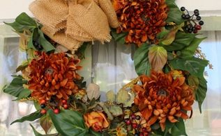 burlap and fall floral wreath, crafts, seasonal holiday decor, wreaths, Burlap and Fall floral Wreath