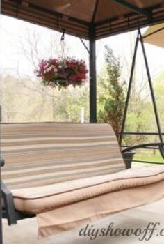 how to add curtains to an outdoor covered patio swing, outdoor living, reupholster, window treatments, Patio Swing Before