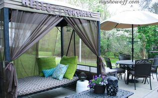how to add curtains to an outdoor covered patio swing, outdoor living, reupholster, window treatments, Patio swing after