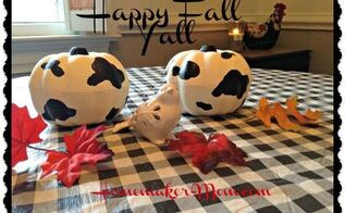 dollar tree pumpkin frugal fun chick fil a cow pumpkins, crafts, seasonal holiday decor, Our Chick Fil A pumpkins