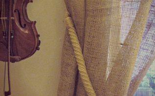 burlap curtains no sew, home decor, repurposing upcycling, How to make no sew burlap curtains