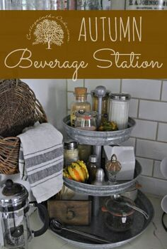 autumn beverage center, kitchen design, seasonal holiday decor, Create an autumn beverage stations for all your favorite warm drinks