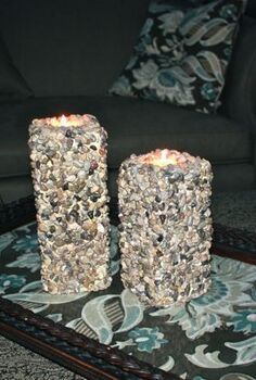 diy river stone pillar candles, crafts, Finished candles