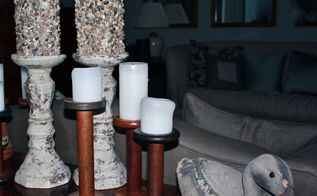 diy river stone pillar candles, crafts
