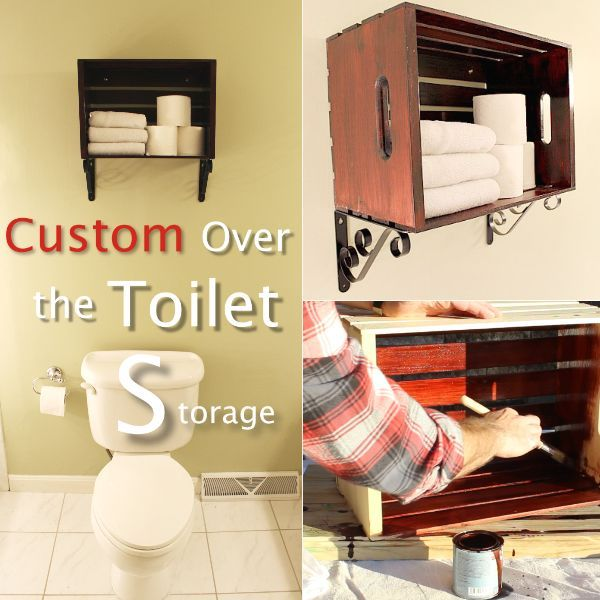 Custom Over The Toilet Storage Solutions With Pine Crates Bathroom Ideas Shelving Ideas