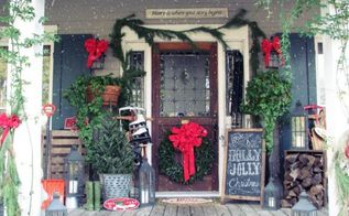 christmas front porch, curb appeal, porches, seasonal holiday decor, Christmas front porch PorchPride