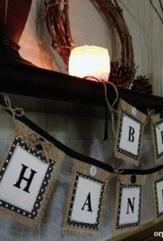 easy last minute diy thanksgiving decor, crafts, seasonal holiday decor, thanksgiving decorations, Mantle banner using burlap scrapbook paper twine and bias tape