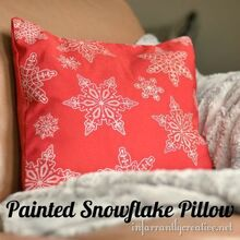 snowflake pillow, crafts, Finished screenprinted snowflaked pillow