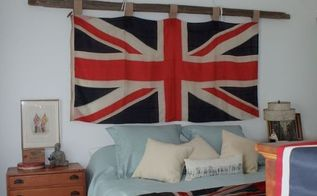 creating a rustic chic bedroom with a vintage union jack flag, bedroom ideas, home decor, I used an antique Pulley rope and a cedar rail to hang this beautiful Union Jack Flag