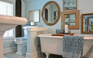 creating a vintage glam bathroom, bathroom ideas, home decor, home improvement, A wonderful vintage claw foot tub and my clients love of gilt mirrors framed the inspiration for this bathroom reno