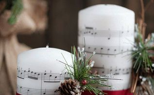 music sheet embedded candles, seasonal holiday decor, Music Sheet Embedded Candles