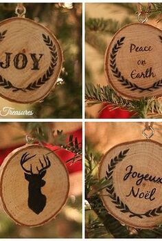 our cabin inspired christmas tree, seasonal holiday d cor, These DIY wood slice ornaments were super easy to make and are my favorite I used my printer to transfer the graphics onto the slices and hung them up using eye hooks twine and ribbon