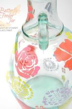 a butterfly feeder jar, crafts, Paint an old jar or jug with glass paints