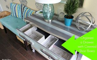 getorganized declutter your foyer fast cheap, foyer, home decor, organizing, Have a couple of old shoe boxes with lids laying around Wrap those babies with a fun wrapping paper and protect with clear contact paper to create a
