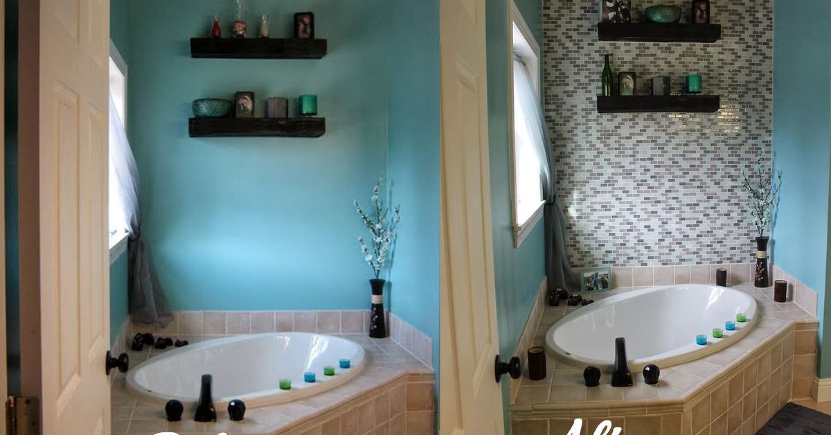 Bathroom Accent Wall diy glass tile accent wall in master bathroom | hometalk