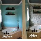diy glass tile accent wall in master bathroom, bathroom ideas, home decor, tiling, This is a before and after shot of the wall I believe the addition of the tile wall really makes the bathroom much more rich and luxurious
