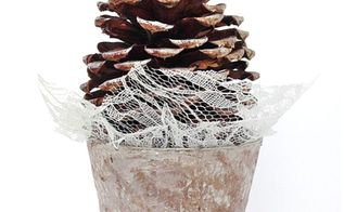 winter pinecone tree craft, crafts, You can make this Winter decoration in no time at all using paint a peat pot lace and of course a pinecone