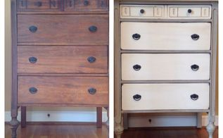 an antique dresser makeover, painted furniture, Before and after