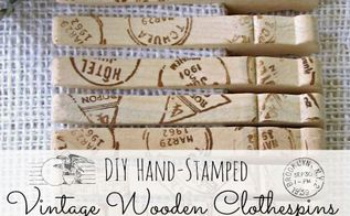 diy vintage hand stamped clothespins, crafts, repurposing upcycling, DIY Vintage Hand Stamped wooden clothespins