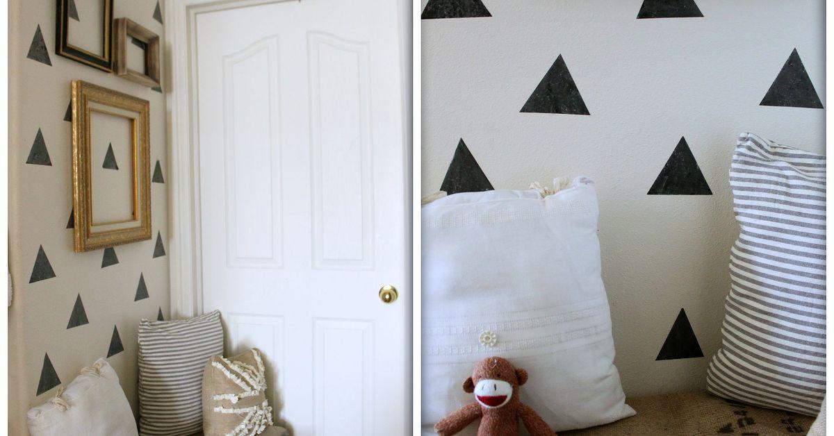 Paint That Looks Like Wallpaper easy niche update: diy triangle [faux] wallpaper | hometalk