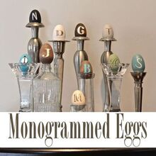 monogrammed eggs, crafts, easter decorations, painting, seasonal holiday decor