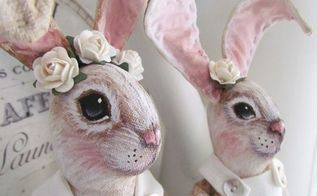 hand painted bunnies for easter, crafts, easter decorations, painting, seasonal holiday decor