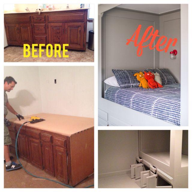 Diy Turn An Old Bathroom Vanity Into A Built In Bed Painted Furniture Repurposing